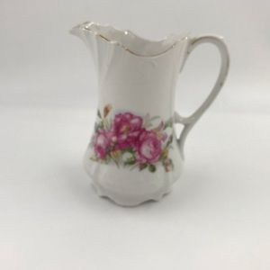 Vintage White w/Pink Flowers and Gold Trim Pitcher